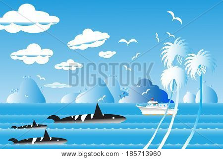Vector illustration seascape background travel over sea with the whale family in water wave between archipelago Blue color with fishes and the bird flying in sky cloud background at summer time.