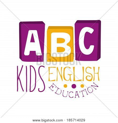 ABC english education for kids logo symbol. Colorful hand drawn label for child development center, educational club, kids channel