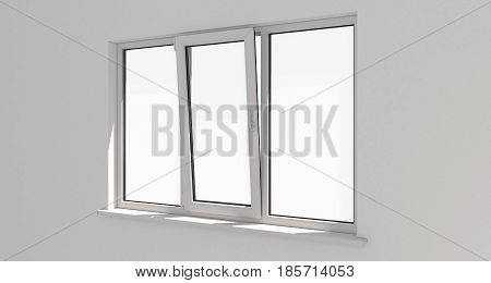 Window. Wall.White wall . Aluminum window. White window. Pvc window. 3D render.
