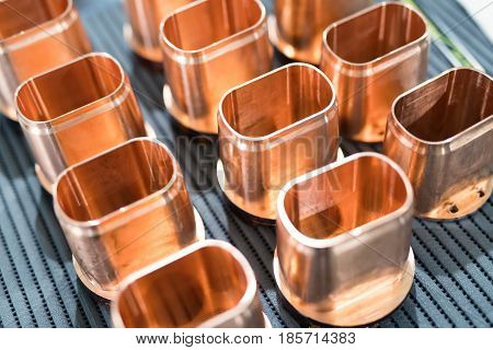 Copper tube metal scrap parts background in metal industry factory
