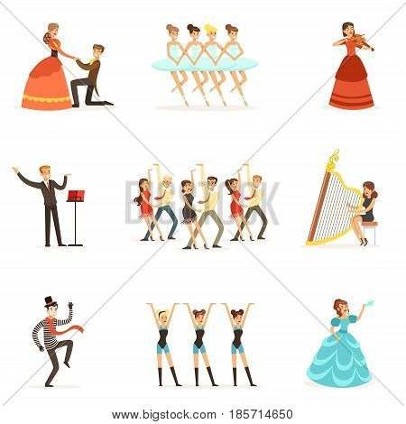 Classic Theater And Artistic Theatrical Performances Set Of Illustrations With Opera, Ballet And Drama Performers On Stage. Actors, Singers And Dancers Performing In Concert Show Vector Cartoon Drawings.