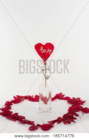 Candy with the word love. White background.