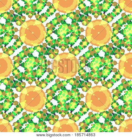 Kaleidoscope seamless vector pattern. Can be used in web design printed on fabric pape. Background element in a composition.