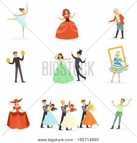 Classic Theater And Artistic Theatrical Performances Series Of Illustrations With Opera, Ballet And Drama Performers On Stage. Actors, Singers And Dancers Performing In Concert Show Vector Cartoon Drawings.