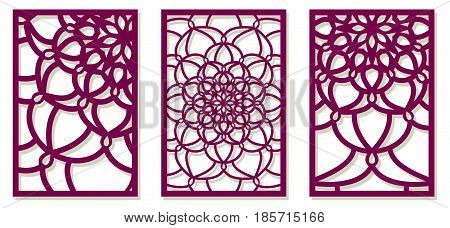 Saet Of Vector Laser Cut Panels. Abstract Pattern Template For Decorative Panel. Template For Interi