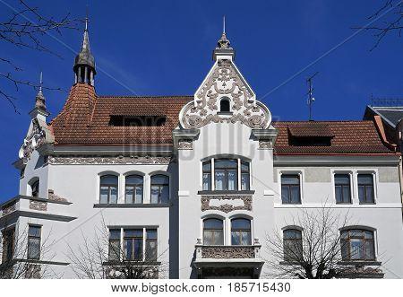 Riga, Elizabetes 13, Neo-Renaissance and Art Nouveau building early 20th century poster