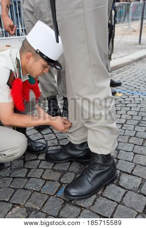 Paris. France. July 14, 2012. Pioneers of the French foreign legion are making preparations for the parade on the Champs Elysees in Paris.
