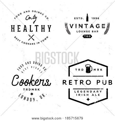 Badges in vintage style on pub and food theme. Monochrome labels in retro style of 80s.