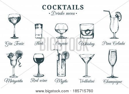 Hand sketched bottles and glasses of alcoholic beverages. Vector set of drinks and cocktails drawings. Restaurant, cafe, bar menu illustrations.