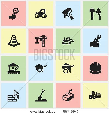 Set Of 16 Editable Construction Icons. Includes Symbols Such As Notice Object, Mule, Spatula And More. Can Be Used For Web, Mobile, UI And Infographic Design.
