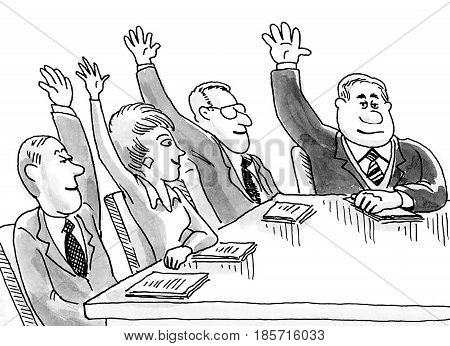 Business cartoon illustration showing a meeting with meeting people's arms raised in the air.