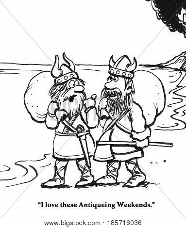 Cartoon showing the Vikings after they have pillaged a village.
