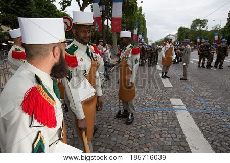 Paris. France. July 14, 2012. Pioneers of the French foreign legion before the parade on the Champs Elysees in Paris.