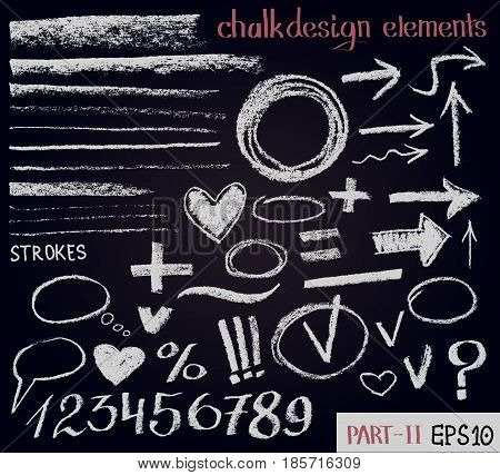 Chalk texture design elements. Set of chalk figures arrows strokes lines stripes strokes round frames on black board. Hand drawn sketch elements. Vector chalkboard illustration.