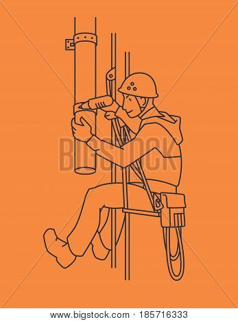 Industrial climber in uniform and helmet mends drainpipe. Professional worker doing his risky work. Man working at height. Rope Access. Vector illustration in line style for your design.