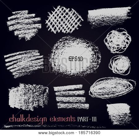 Chalk texture design elements. Set of chalk lines stripes strokes round and rectangle shapes frames on black board. Vector design graphic elements. Hand drawn.