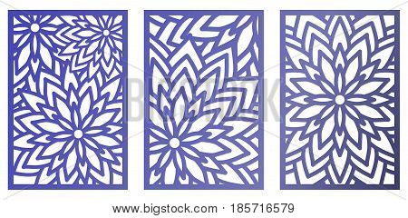Set Of Vector Laser Cut Panels With Flowers. Abstract Pattern Template For Decorative Panel. Templat