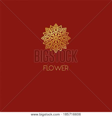 Abstract Flower Logo Icon Design. Elegant Lotus Line Symbol. Template For Creating Unique Luxury Des