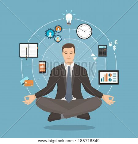 Businessman practicing mindfulness meditation he is clearing his mind releasing stress and expressing his potential; yoga and self consciousness concept