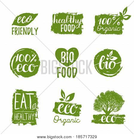 Vector eco, organic, bio logotypes or signs. Vegan, healthy food badges, tags set for cafe, restaurants, products packaging etc.