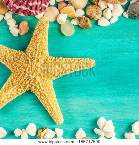 An overhead photo of a sea star, sea shells, and pebbles forming a frame on a vibrant turquoise background, with a place for text inside. A square design template for a summer vacation banner