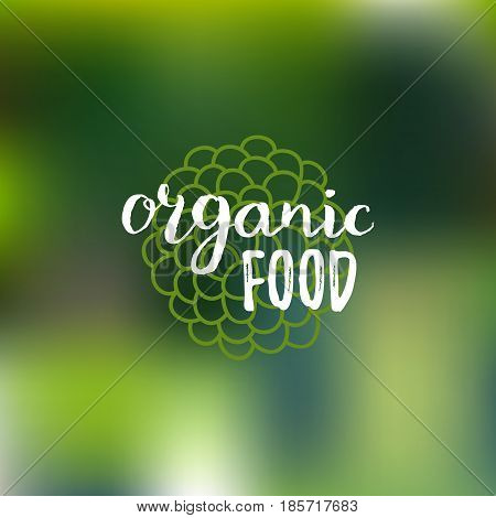 Vector organic food logo on blur background. Eco sign, bio icon, healthy eating label for vegetarian restaurant, vegan cafe, product and drink packaging.