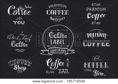 Set Coffee Label,banner Or Typography,lettering Hand Drawn,