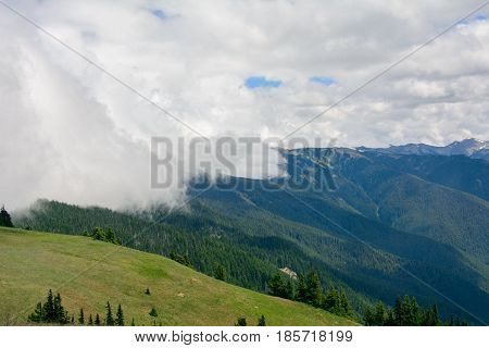 Clouds in the mountains in Olympic National Park, Washington