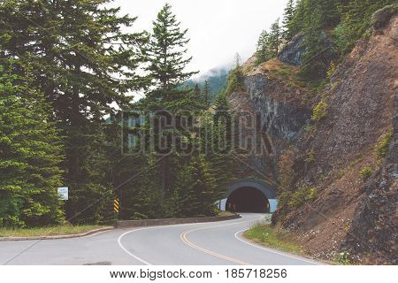 Road tunnel in the Olympic national park, Washington state