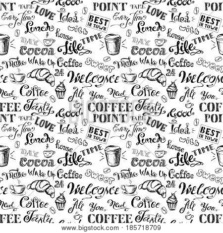 Seamless Pattern Coffee Lettering,hand Drawn On White Background