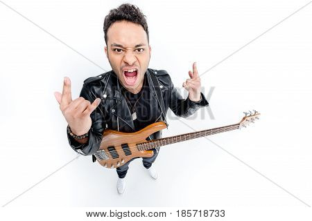 African American Rocker With Electric Guitar Showing Rock Signs Isolated On White, Rock Star Guitar