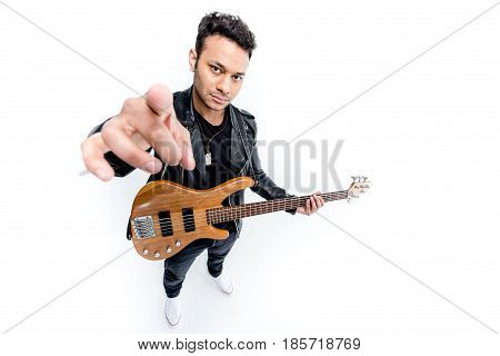 African American Rocker Posing Playing Electric Guitar Isolated On White, Electric Guitar Player Con