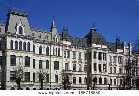 Riga Elizabetes 17-19 the ambassadorial quarter historical buildings the beginning of the 20th century