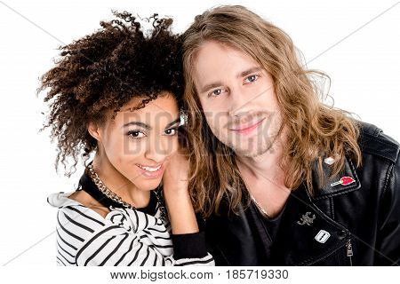 Close-up Portrait Of Beautiful Young Stylish Couple Standing Together And Smiling At Camera