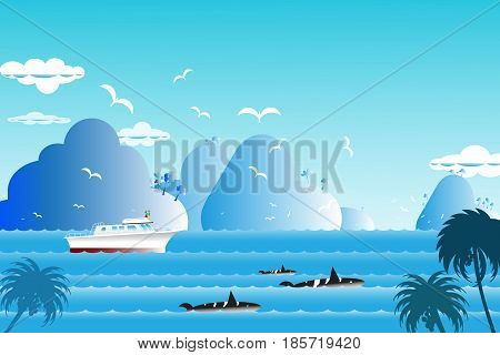 Seascape background over sea with the whale family in water wave between archipelago Blue color with fishes and the bird flying in sky cloud background at summer time. illustration wild life