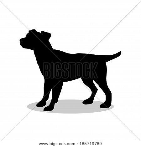 Dog pup pet black silhouette animal. Vector Illustrator.
