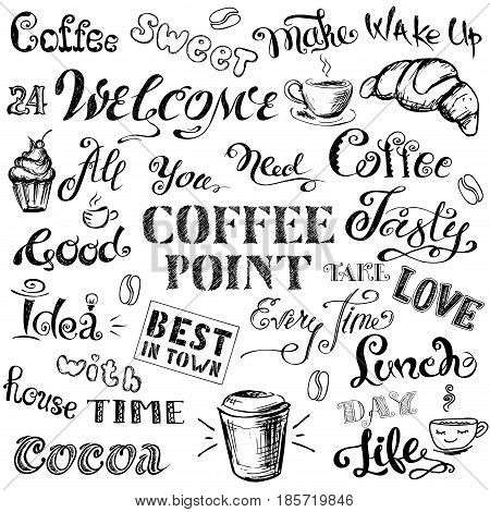 Coffee Lettering,hand Drawn On White Background
