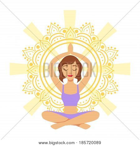 Meditating yogi girl in yoga lotus pose, colorful character vector Illustration isolated on a white background
