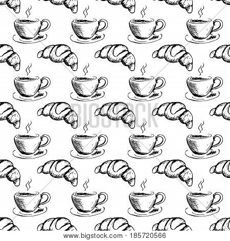 Seamless Pattern Hand Drawn Cup Of Coffee And Croissant