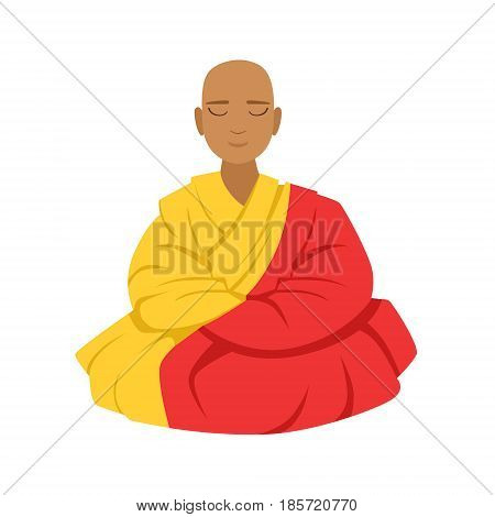 Tibetan monk in a robe, buddhist in lotus position, colorful character vector Illustration isolated on a white background