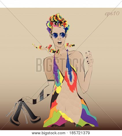Girl in short dress Bright drawing of a young woman wearing a summer outfit a scarf in the hand one pair of shoes glasses short hairstyle