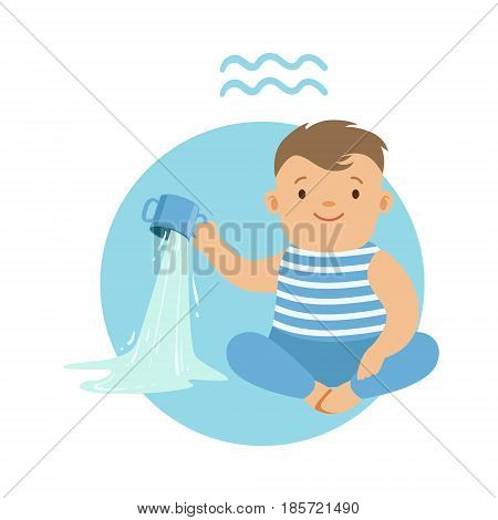 Cute little boy as Aquarius astrological sign. Horoscope symbol colorful character vector Illustration isolated on a white background