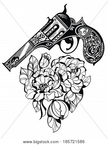 Pistol tattoo and flower as a heart style