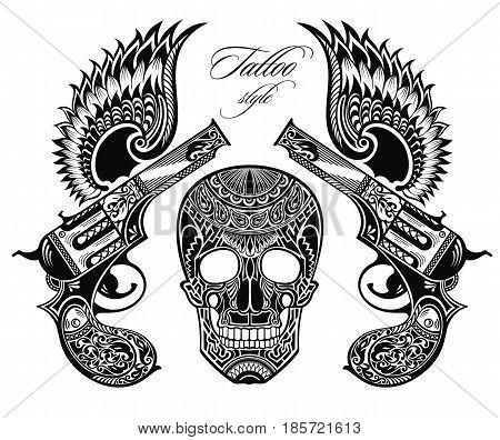 Pistols tattoo illustration.Tattoo vector design with pistols and skull
