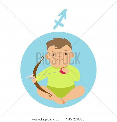 Cute little boy as Sagittarius astrological sign. Horoscope symbol colorful character vector Illustration isolated on a white background