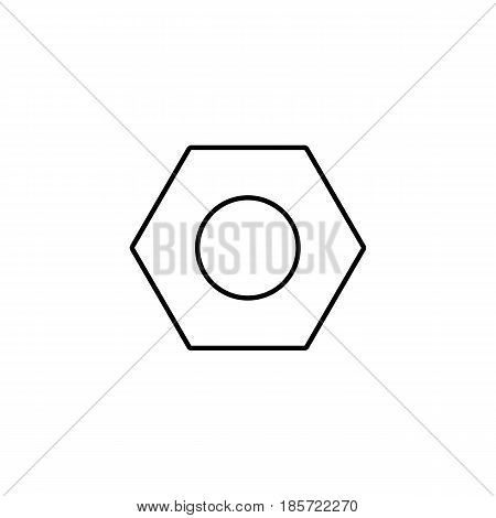 Screw and hex nut line icon, build repair elements, construction tool, a linear pattern on a white background, eps 10.