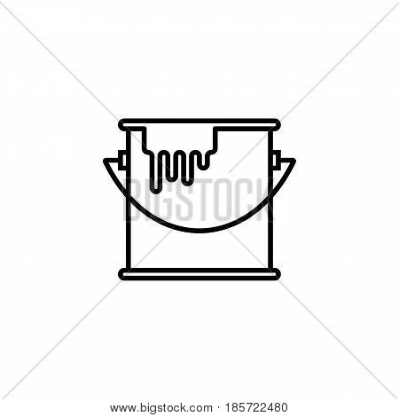 Bucket of paint line icon, build repair elements, construction tool, a linear pattern on a white background, eps 10.