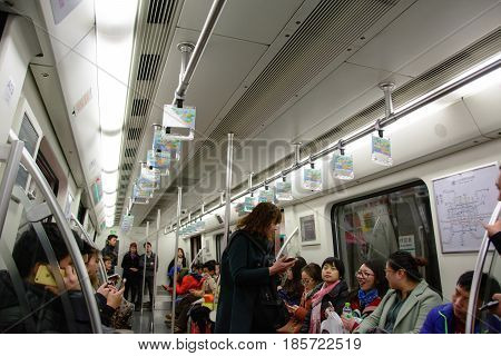 Beijing, China - March 7, 2016: Subway car in Beijing