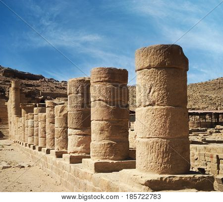 Colonnaded street in ancient town of Petra Jordan.