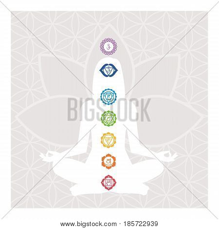 Seven chakras energy body and woman meditating in the lotus position